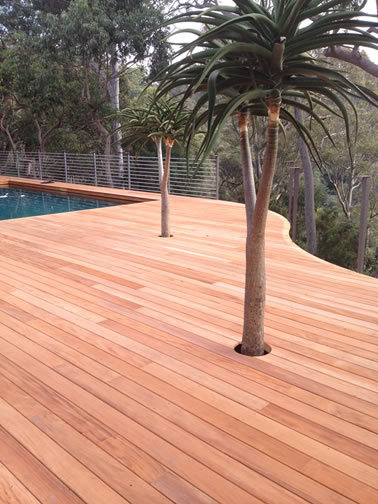 Mahogany used as a pool deck