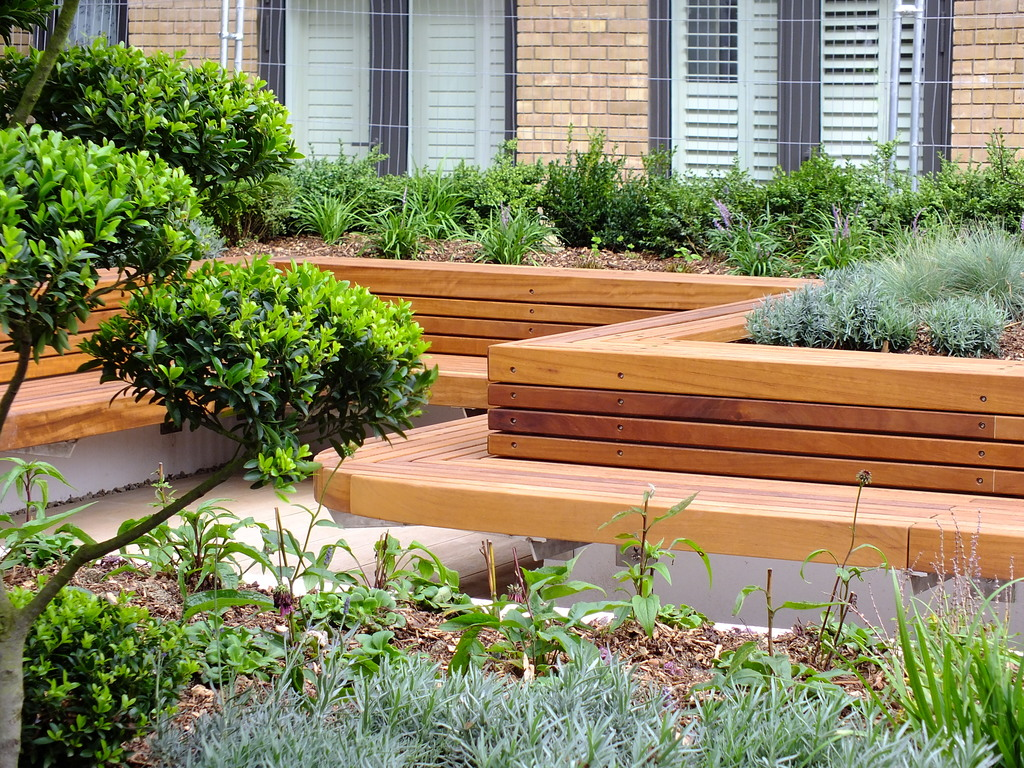 Iroko Hardwood Bench as part of a Landscaping scheme
