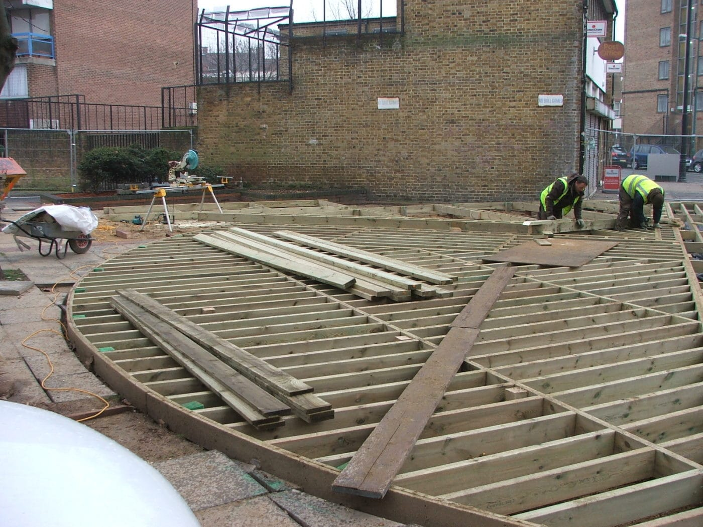 Men installing a deck