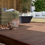 Sustainable Kebony decking with outdoor furniture and a dog
