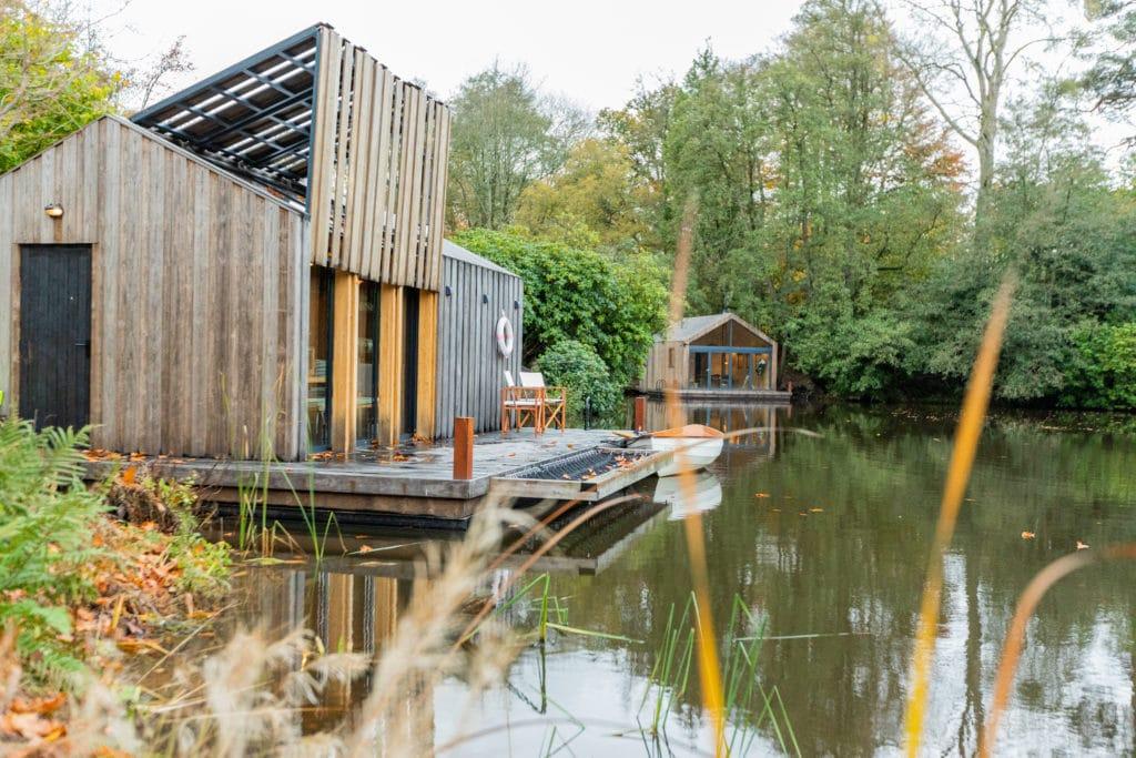 kebony cladding decking on luxury boat house