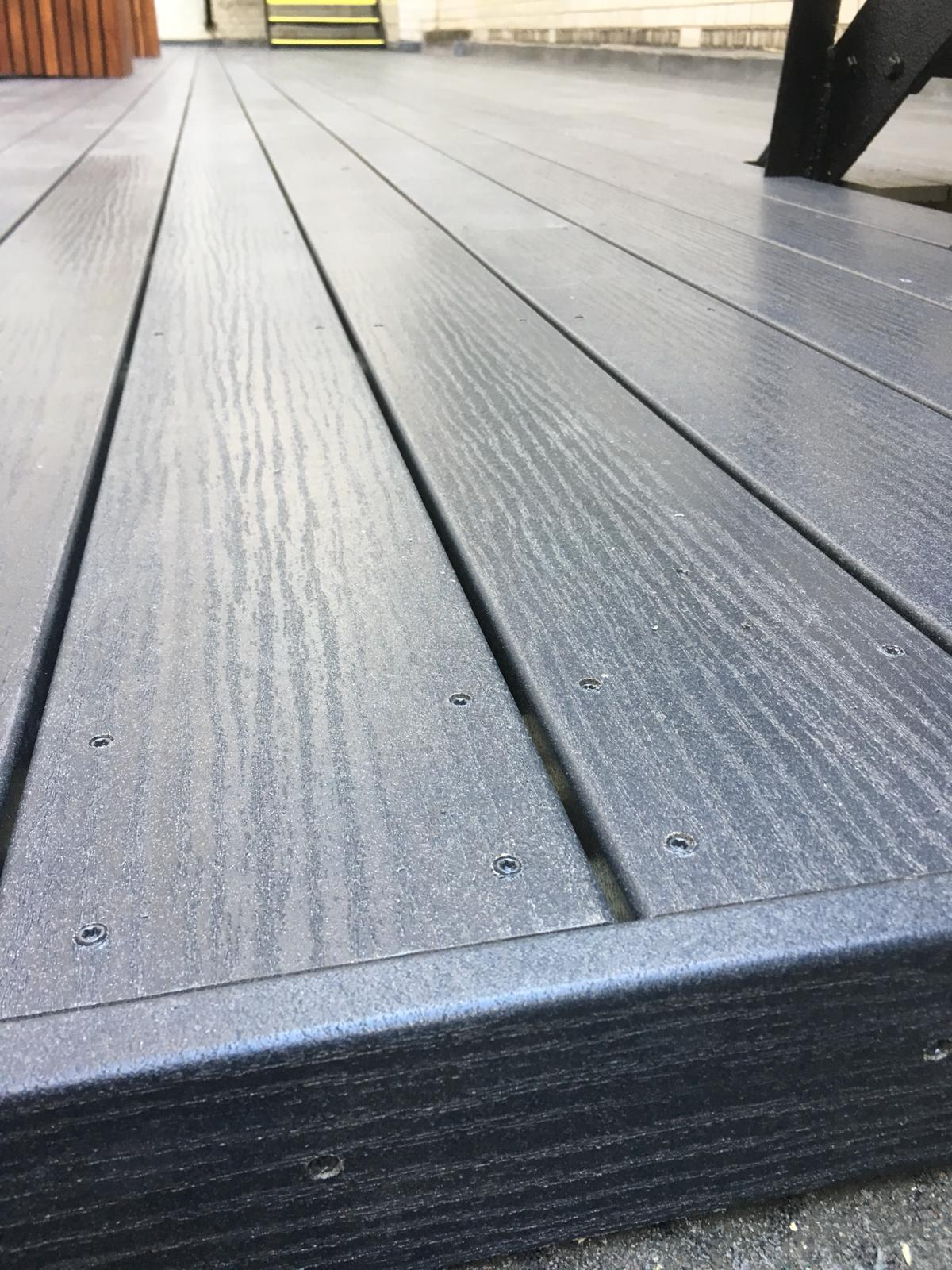 Commercial composite decking installation, Mayfair