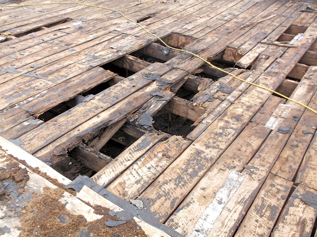 Rotten decking failure, it needs replacing