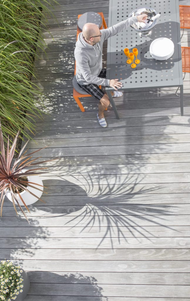 Weathered Kebony Clear decking is beautiful