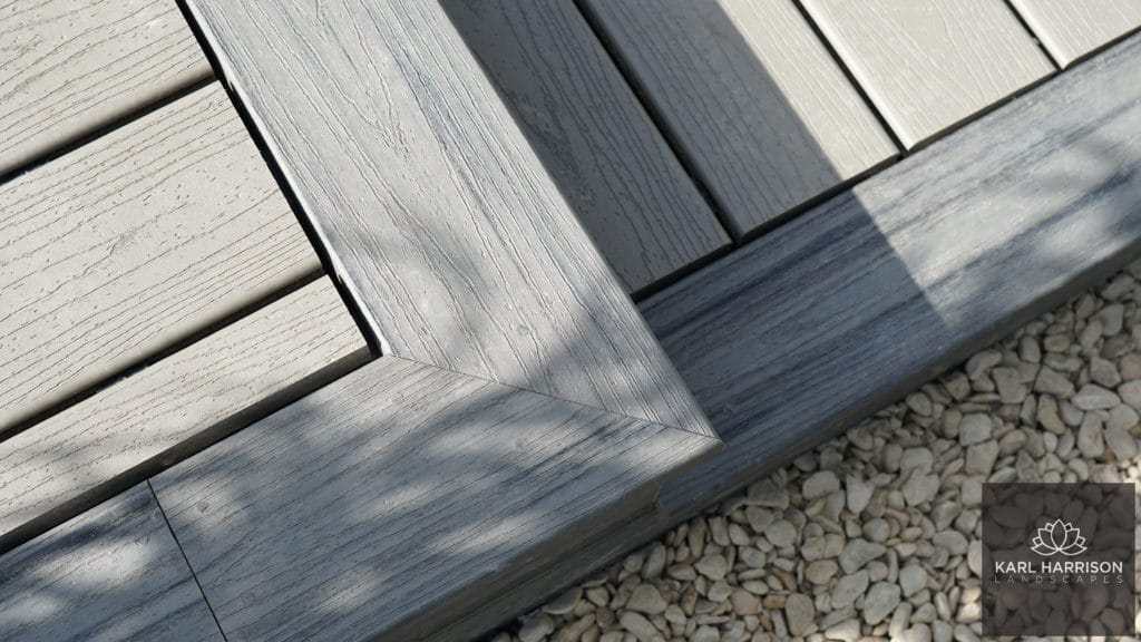 trex decking island mist border with gravel path