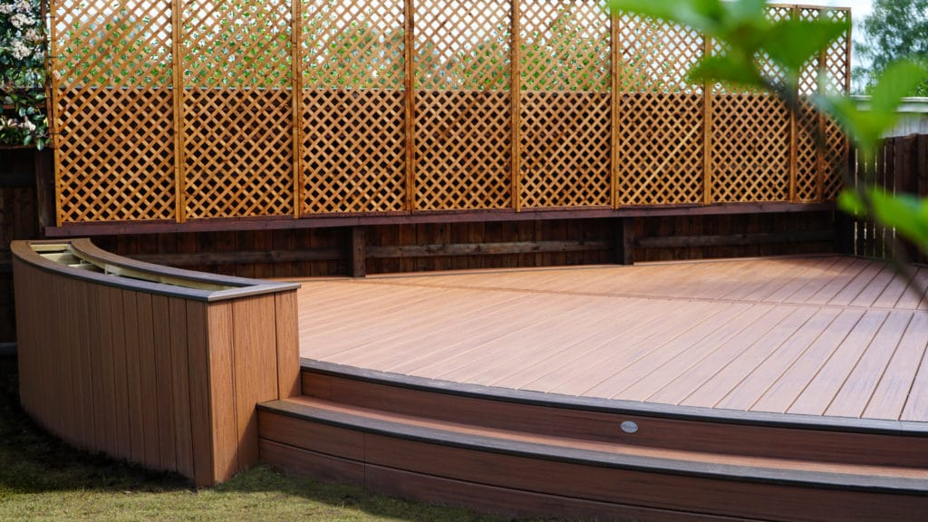 custom curved trex decking installed in corby