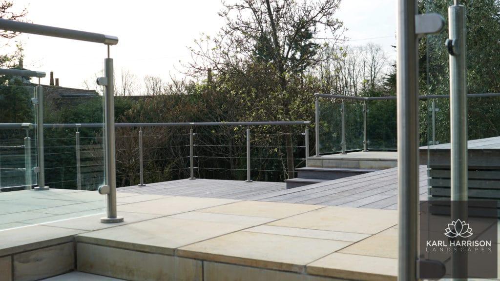 grey ipe decking in a garden