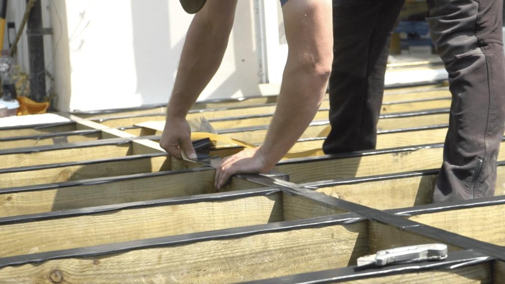 Decking Joist and Beam Tape Installation